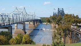 Mississippi River bridges. Two bridges across Mississippi River at Vicksburg, MS--one for vehicles and one for railroad Stock Image