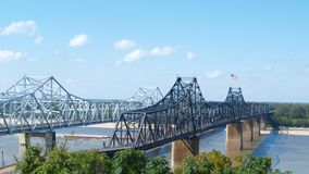Mississippi River bridges. Two bridges across Mississippi River at Vicksburg, MS--one for vehicles and one for railroad Royalty Free Stock Photo