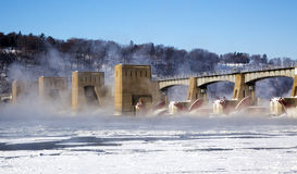 Mississippi River dam and rising mist Stock Images