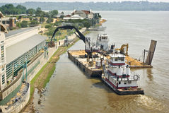 Mississippi River flood preparation Stock Image