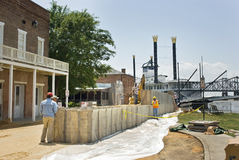 Mississippi River flood preparation Stock Photo