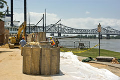 Mississippi River flood preparation Royalty Free Stock Photo