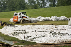 Mississippi River Flood Prevention. Sandbags are placed along the Mississippi River levee at Duncan Point outside Baton Rouge, Louisiana in order to help prevent Stock Photo