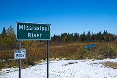 Beautiful Mississippi River flowing north near Itasca State Park in Minnesota. Mississippi River flowing north near its source at Itasca State Park in Minnesota stock photography