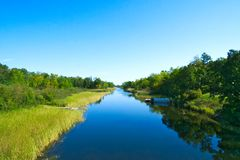 Beautiful Mississippi River flows north toward Bemidji Minnesota. Mississippi River flows north toward Bemidji Minnesota near hiway 2. This scene is a few miles stock images