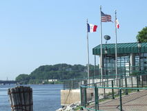Mississippi River Harbor. Welcome center on the mississippi in Iowa Stock Photos