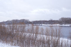 Wooded Banks of Mississippi River in Winter Stock Photo
