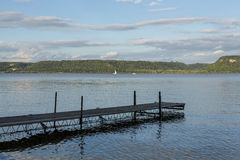 Mississippi River Lake Pepin Scenic. A scenic view of Lake Pepin on the Mississippi River with boat dock during early autumn Royalty Free Stock Photo