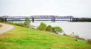 Mississippi river at Memphis. Mississippi river bank landscape, taken in Memphis royalty free stock images