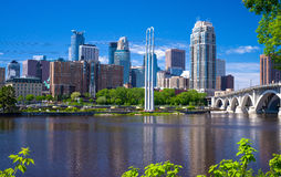 Mississippi river, minneapolis skyline Royalty Free Stock Photography