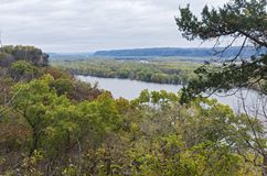 Mississippi River Overlook at Effigy Mounds stock photography