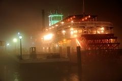 Mississippi River Paddleboat in the Fog Stock Photo