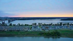 Mississippi river Sun set Stock Image