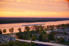Mississippi river. Sun set, taken in Memphis royalty free stock image