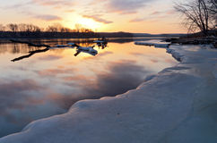 Mississippi River Sunrise in South St Paul Stock Image