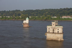 Mississippi River and water towers Royalty Free Stock Photography