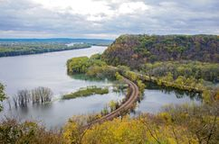 Mississippi River and Wooded Bluffs at Iowa Border royalty free stock images