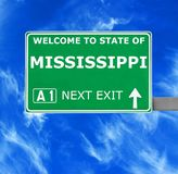MISSISSIPPI road sign against clear blue sky royalty free stock photos