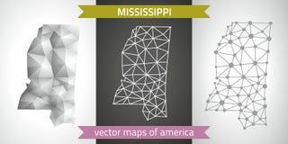 Mississippi-Satz Grau und polygonale Karten des Silbermosaiks 3d Grafische Vektordreieckgeometrieentwurfs-Schattenperspektive zei Lizenzfreies Stockfoto