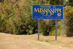 Mississippi Sign. Welcome to Mississippi state sign from the Alabama border stock photos