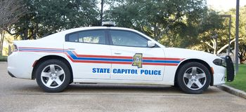 Mississippi State Capitol Police Car. Capitol police enforcement vehicle, outside the Mississippi state capitol building , Jackson Mississippi Royalty Free Stock Image
