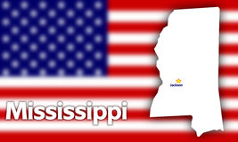 Mississippi state contour. With Capital City against blurred USA flag Royalty Free Stock Photos