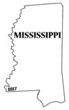 Mississippi State and Date. A Mississippi state outline with the date of statehood isolated on a white background Royalty Free Stock Images