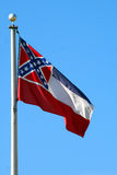 Mississippi State Flag (vertical). The state flag of Mississippi against a blue sky Royalty Free Stock Photography
