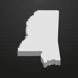 Mississippi State map in gray on a black background 3d Stock Photography