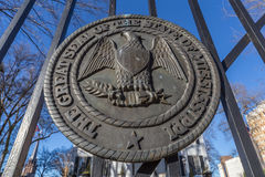 Mississippi State Seal on the gates of Governor's Mansion in Jackson,  Mississippi Royalty Free Stock Photography