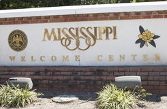 Mississippi State Sign. Close up of a Mississippi welcome center sign stock photo