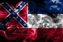 Mississippi state smoke flag, United States Of America.  royalty free stock images