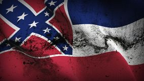 Mississippi US State grunge dirty flag waving on wind. United States of America Mississippi background fullscreen grease flag blowing on wind. Realistic filth Stock Image