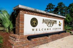 Mississippi USA, tecken för välkommen mitt (ledaren) royaltyfri bild