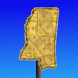 Mississippi warning sign with dollars Royalty Free Stock Images
