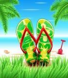 Misslyckanden för för Hello sommarhäftklammermatare eller Flip på stranden för med blå himmel royaltyfri illustrationer