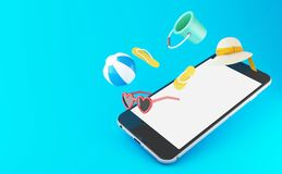 misslyckanden för flip 3d, solglasögon, strandboll och sugrörhatt på en smartph vektor illustrationer