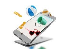 misslyckanden för flip 3d, solglasögon, strandboll och sugrörhatt på en smartph royaltyfri illustrationer