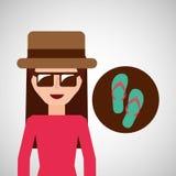 Misslyckanden för flip för Toursit kvinnliga hattsolglasögon vektor illustrationer