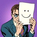 Missmutiger Mann und Lächeln der Hypokrisieheimlichkeit Stockbild