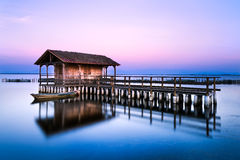 Missolonghi floating house. Floating house in the lake of Missolonghi in Greece Royalty Free Stock Image