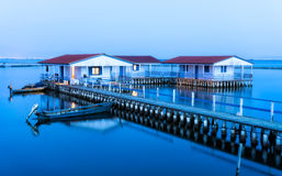 Missolonghi floating houses. During blue hour Stock Photo