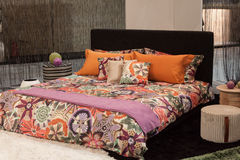 Missoni double bed on display at HOMI, home international show in Milan, Italy Royalty Free Stock Photo