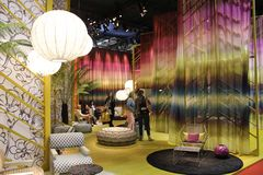 Missoni stand during the 2014 Furniture fair in Milan Stock Photography