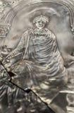 Missorium of Theodosius I. Emperor detail. Missorium of Theodosius I enthroned. Replica piece of ceremonial silver dish found in Almendralejo, Badajoz, Spain Stock Photo