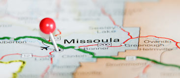 Missoula city. Pin on the map stock images