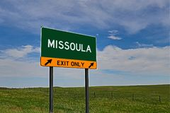 US Highway Exit Sign for Missoula. Missoula `EXIT ONLY` US Highway / Interstate / Motorway Sign royalty free stock image