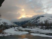 Missoula Montana vinterflod Arkivfoto