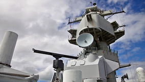 Missouri Battleship tower. HONOLULU, OAHU, HAWAII, UNITED STATES - AUGUST 21, 2016:Radio and radar tower of the Battleship Missouri at Pearl Harbor in Honolulu stock video