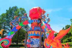 Missouri Botanical Gardens lantern festival. Chinese inspired figures and symbols as giant lanterns set amidst the Missouri Botanical Gardens Royalty Free Stock Image